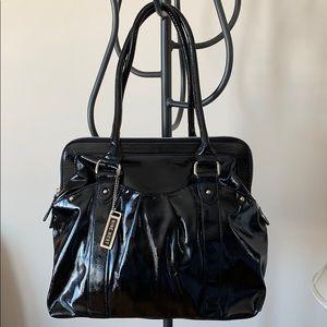 🆕NINE WEST Purse BLACK GLOSSY PATENT BAG